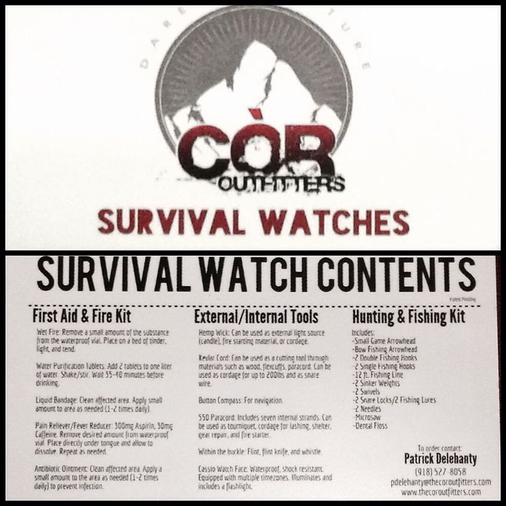 These survival watches are equipped with everything that you would need to survive evade resist and escape. They are a complete survival kit that is wearable customizable TSA friendly and an easy every day carry kit. All of the gear within the kits are incased in waterproof containers that were design with flexibility in mind. Custom attachment points were designed so that these bands can be easily removed and swapped with additional gear and color options. We offer several compatibility…