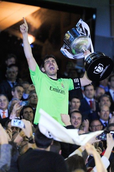 Iker Casillas of Real Madrid CF celebrates with the trophy after winning the Copa del Rey Final between Real Madrid and FC Barcelona at Estadio Mestalla on April 16, 2014 in Valencia, Spain.