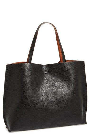 faux leather reversible tote - a steal at $48 (and in black for @lesmontano)