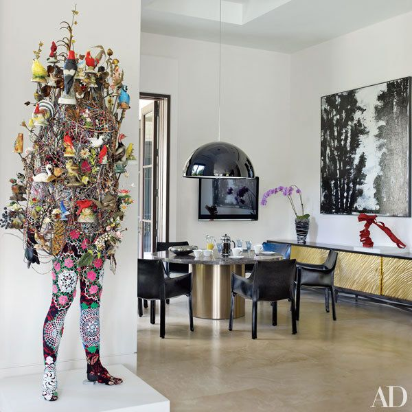 Entertainment Areas More Relaxed But Stylish And Luxe: Two Prominent Art Collectors Build A Luxe Palladian-Style
