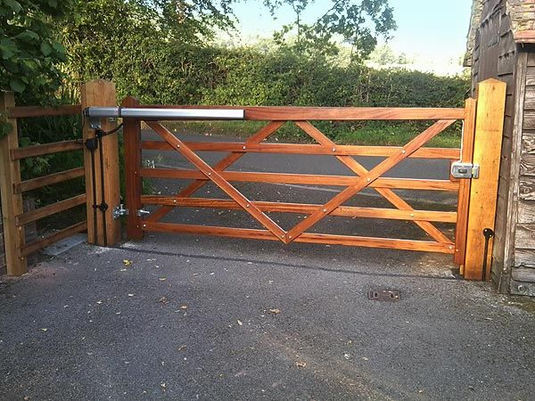 Made to measure automated wooden farm gates homesteading for Wood driveway gate plans