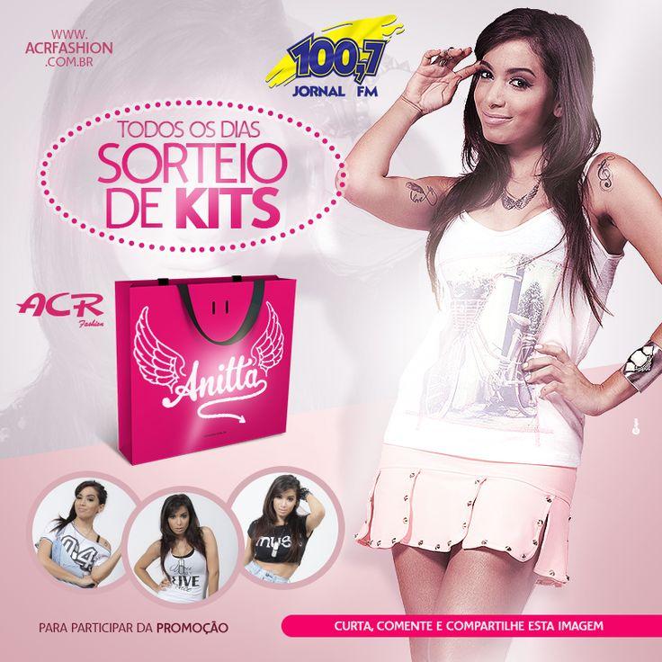 Job: Anúncio (Sorteio de Kit Anitta), Cliente: Rádio Jornal FM / ACR Fashion, Software: Photoshop CS6.