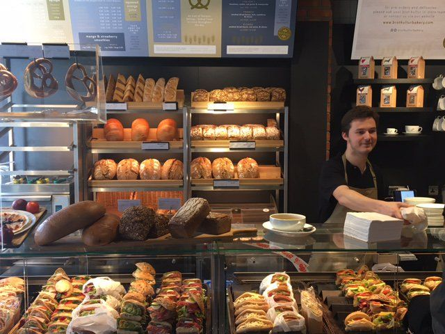 Brot Kultur Bakery - Bloomsbury. German.  Mains from £4. The flatbreads (flamkuchen) are good value.