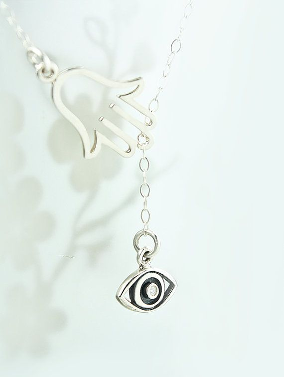 Sterling Silver Hamsa Hand Diamond Evil Eye - Protection Lariat by PureJoyDetails