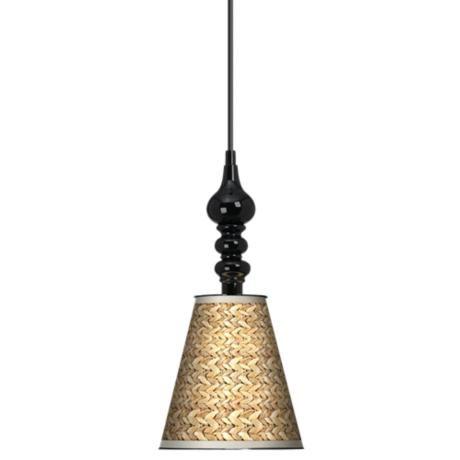 Seagrass giclee 7 1 2 wide black mini pendant home for Home decorations mini pendant