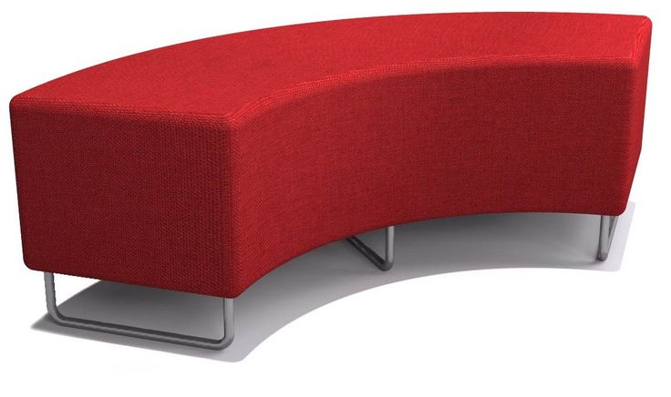 The Curved Ottoman is available on a Sled base and allows to be moved around with ease.  A modular piece that can be teamed with the High Bench and Paris Lounge.