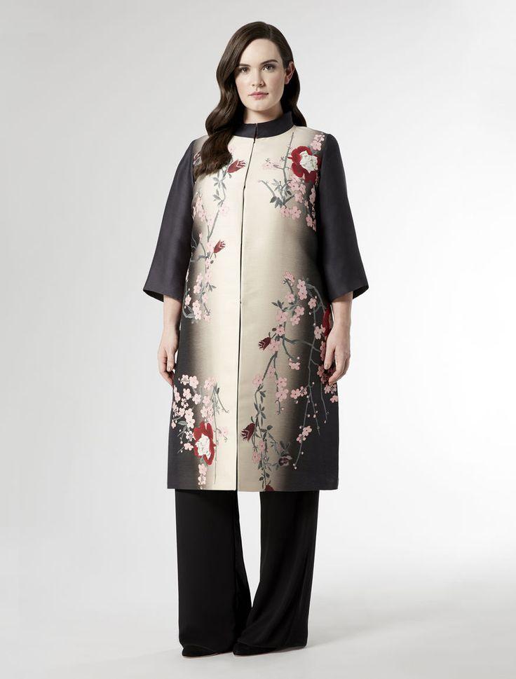 Mikado silk coat with blossom print, black - TEA Marina Rinaldi