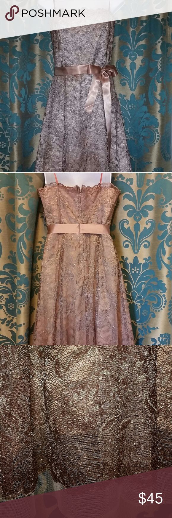 BCBGMaxAzria Strapless Lace Dress Beautiful dark tan, tea length lace dress is complete with attached self tying belt. Fully lined dress with boning in the bust. BCBGMaxAzria Dresses Strapless