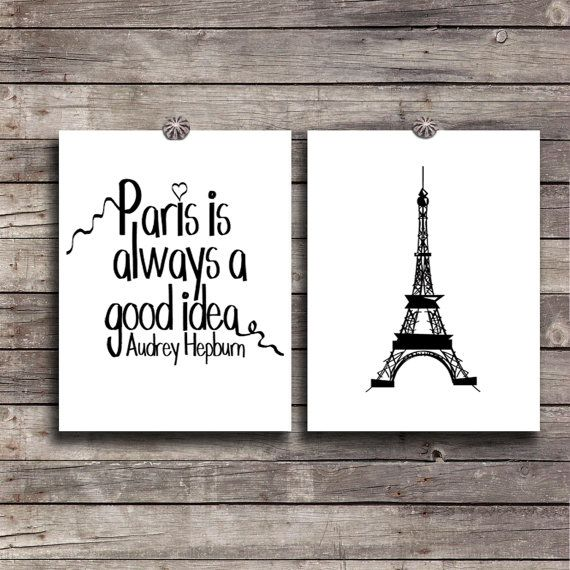 Paris wall decor SET Instant download Audrey Hepburn Quote Digital art DIY  Printable Eiffel tower poster