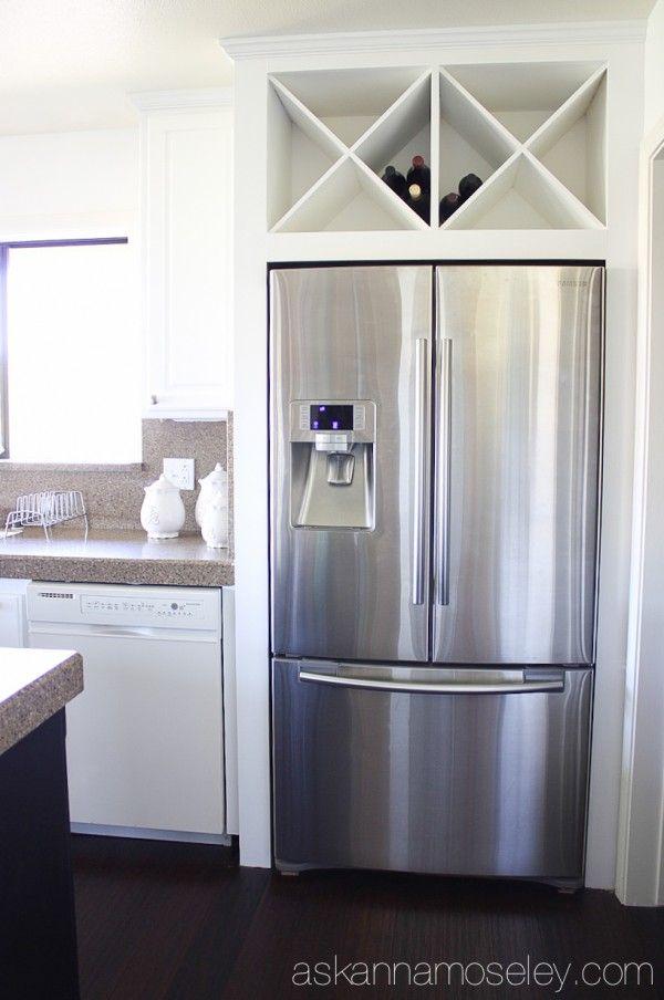 Custom wine rack above fridge ask anna kitchen inspiration pinterest built in wine rack - Above kitchen cabinet storage ...