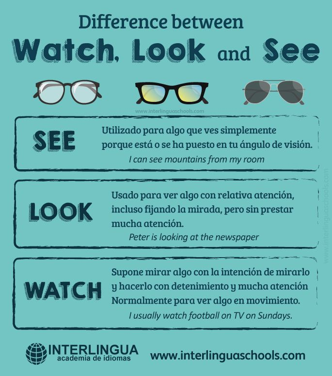 Diferencia entre Watch, Look y See #inglés #english