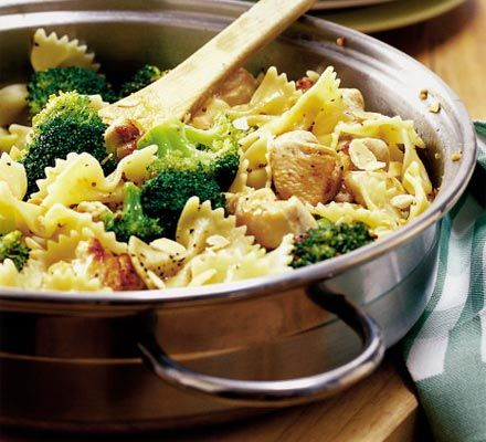 Chicken & broccoli pasta - chicken in orange & mustard. Toasted almonds to finish.
