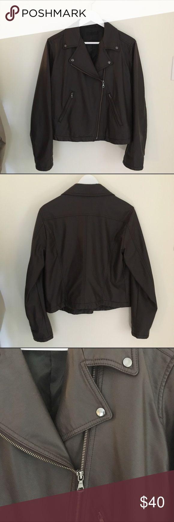 Leather jacket uniqlo - Faux Leather Jacket Uniqlo Dark Brown Imitation Leather Shell Polyester Lining Good