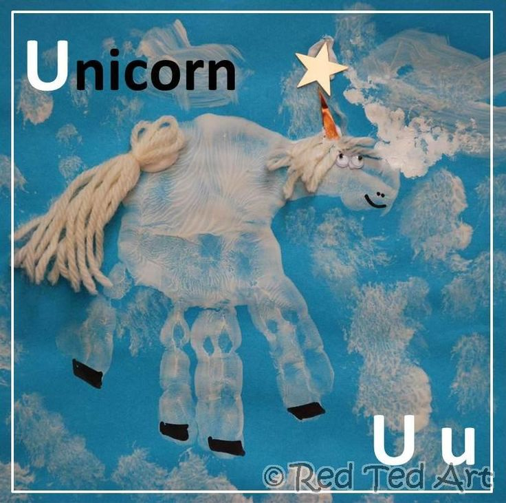 Part of our Handprint Alphabet Series.. coming to an end with U for unicorn. Just a few more to go!