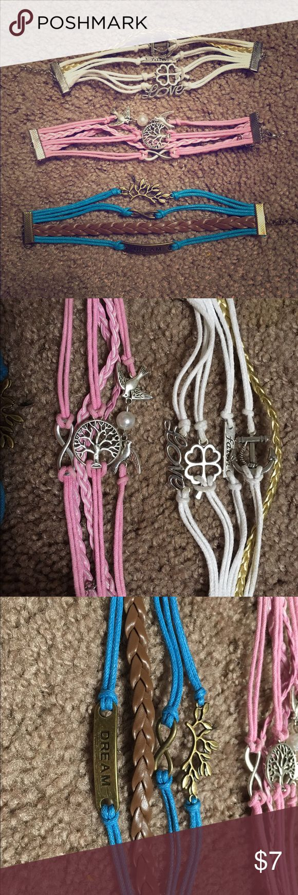 """Lot of Bracelets Beautiful and unique bracelets that say things like """"faith, love, dream"""" and have the infinity sign on them, the tree of love, love birds, lucky 4 leaf clovers, and anchors. Brand new! I have other great deals on my page, check it out! 💜 BUNDLE, OFFER AND I WILL REDUCE THE PRICE- DEPENDING ON HOW MUCH YOU BUY!❣️ Jewelry Bracelets"""