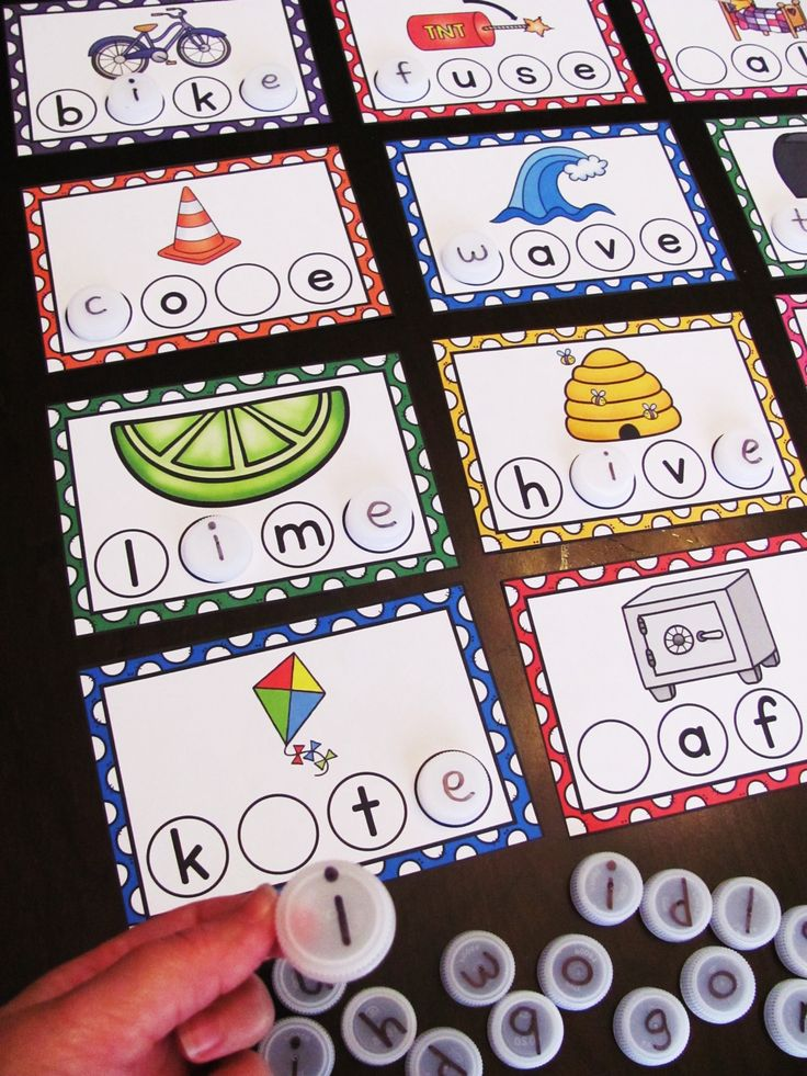 Use water bottle caps to build CVCe words with these fun long vowels cards, really simple but fun working with words centers