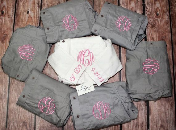 Monogrammed Bride and Bridesmaid Oversized Button Up Shirts on Etsy, $23.00