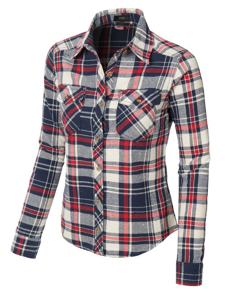 Womens slim fit long sleeve plaid flannel button down for Womens button down shirts fitted