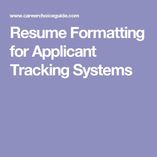 applicant tracking system resume format