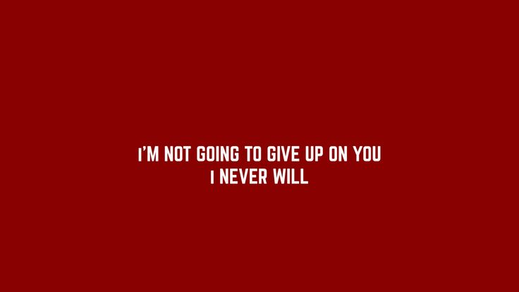 Never ever. Never. I'm not giving up.