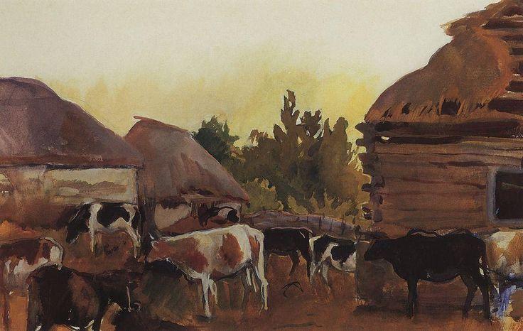 Скотный двор в селе Нескучное. 1910-е. Зинаида Серебрякова (1884-1967)