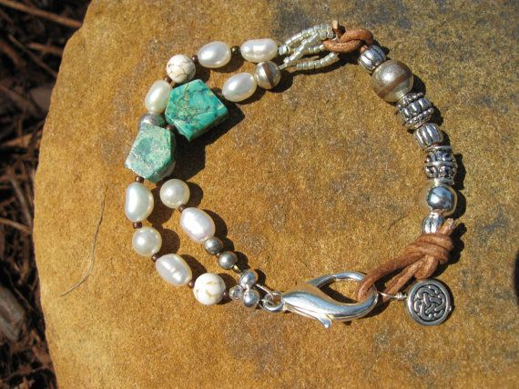 Big Sky  Leather and Pearl Bracelet by fleurdesignz on Etsy, $28.00