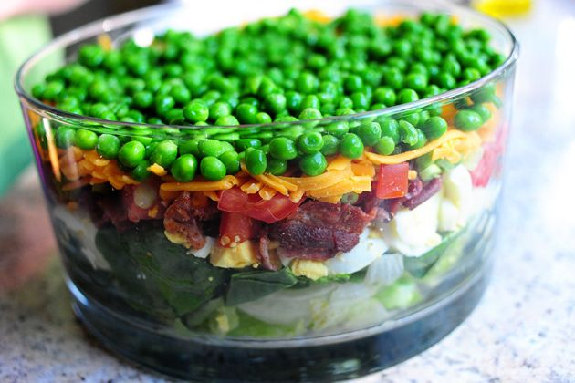 layered salad... wouldn't this be cute as individual servings in canning jars?