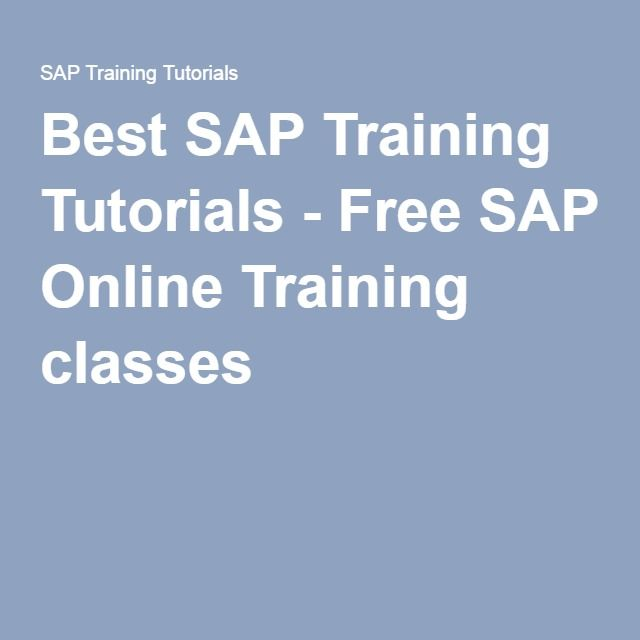 Best SAP Training Tutorials - Free SAP Online Training classes