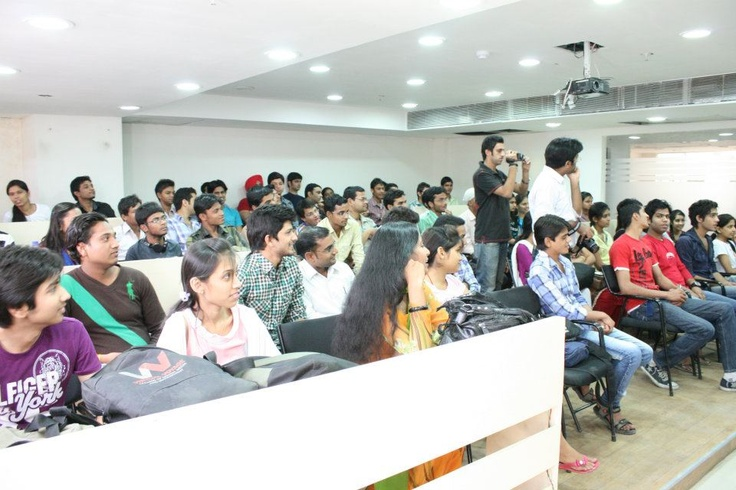 Students listening to Former Miss India(Best Body) Miss.Mrinalini Tyagi at Virtual Voyage.