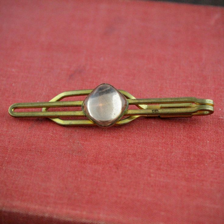 Vintage Tie Bar with Pink Cabochon Gem - Mid Century Gold Tone Tie Clip - Retro Open Bar Tie Pin - Light Pink Square Glass - Grooms Gift by LoAndCoVintage on Etsy