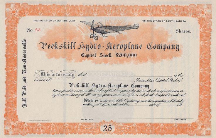 Peekskill Hydro Aeroplane Company Circa 1912 Stock Certificate   Company  Share Certificates  Company Share Certificates