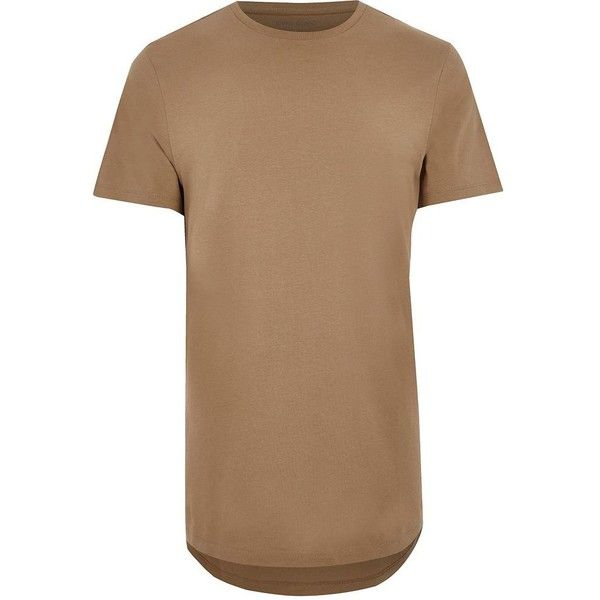 River Island Light brown curved hem longline T-shirt ($9.91) ❤ liked on Polyvore featuring men's fashion, men's clothing, men's shirts, men's t-shirts, brown, mens crew neck t shirts, mens short sleeve shirts, mens brown shirt, mens short sleeve cotton shirts and mens tall shirts