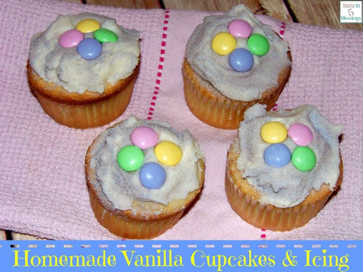 Homemade Vanilla Cupcakes http://mamato5blessings.com/2014/06/homemade-vanilla-cupcakes-icing/
