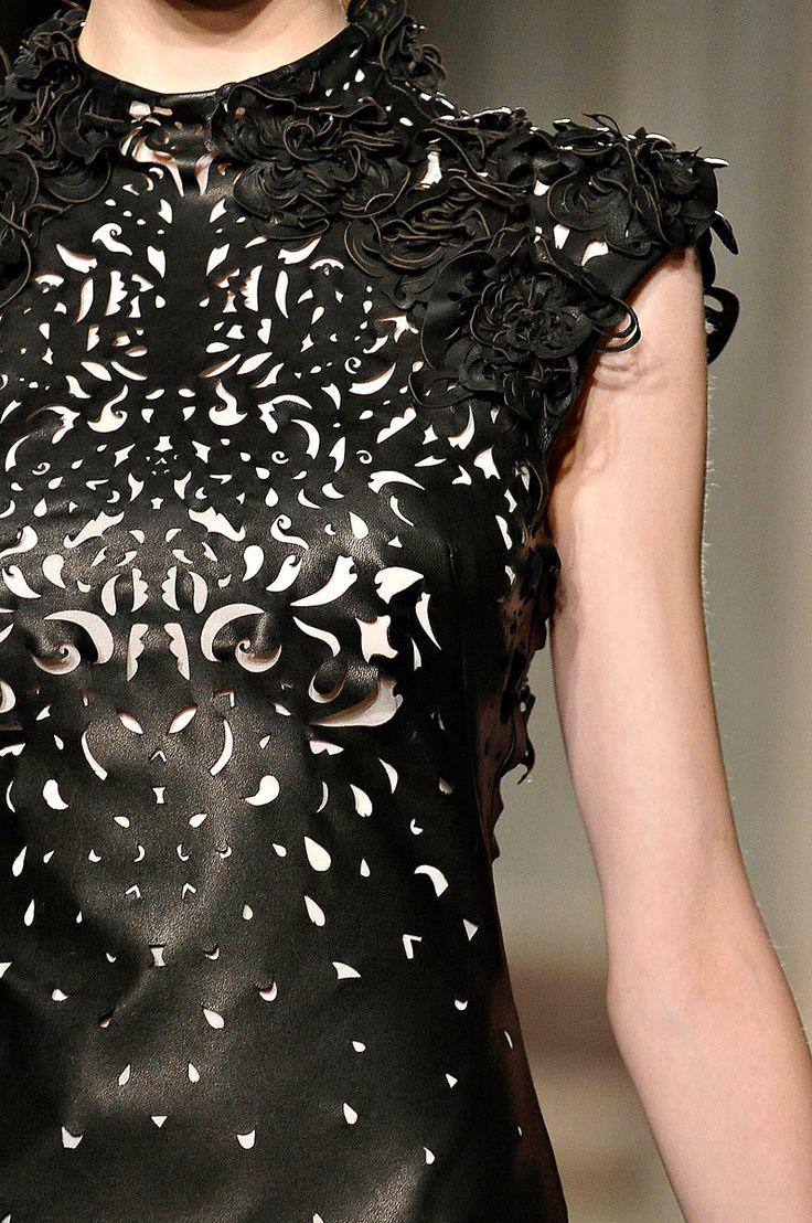 laser cut leather (?) marchesa fall 2012 rtw
