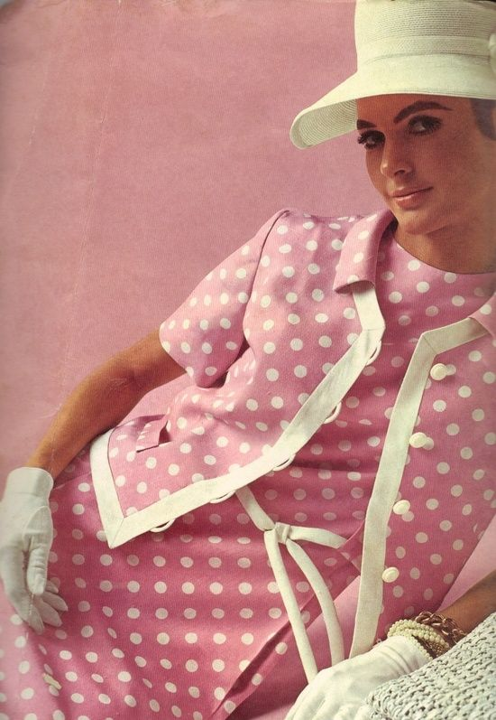 1960s polka dots, reminds me of a dress my mother wore except it was brown with white polka dots, beautiful she was!