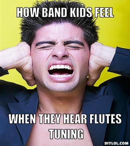 Band Problems How the flutes feel while tuning<<<Trust me, it's worse when the TWO PICCOLOS for Stars and Stripes Forever are tuning.  Everyone hated me.