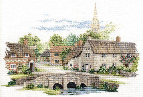 Derwentwater Village England Series Wiltshire Village Counted Cross Stitch Kit 14 count aida