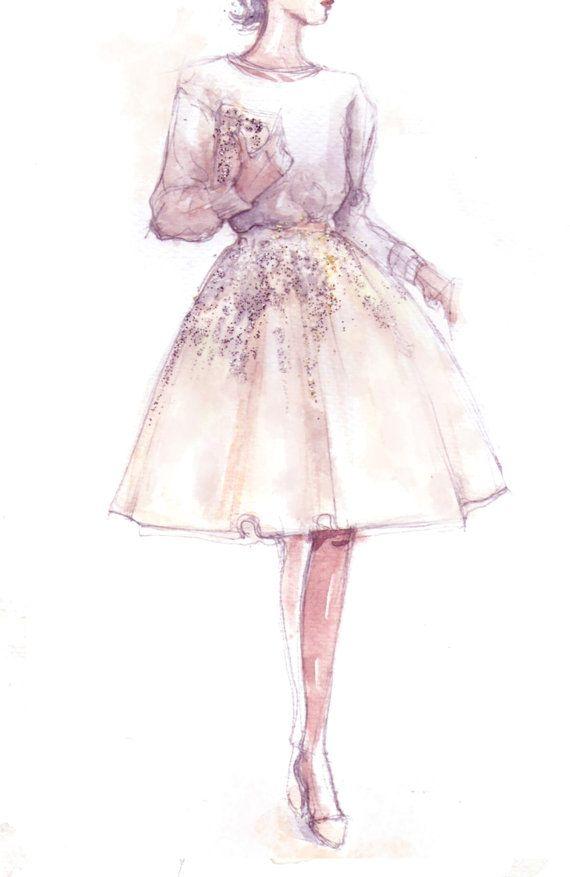 Mode-Illustration zu drucken Pullover & funkel Glitter von Pinodesk