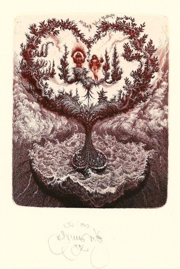 EX libris Bookplate Etching Exlibris Albin Brunovsky | eBay