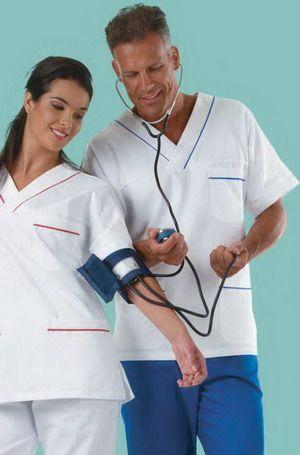 Camice Medico Ospedale Oss Infermiere Bianco Con Profili Bluette [CASACCA MS1401 BIANCO PROFILI] 13.81EUR: Italiantrendy.it, veste la professionalità