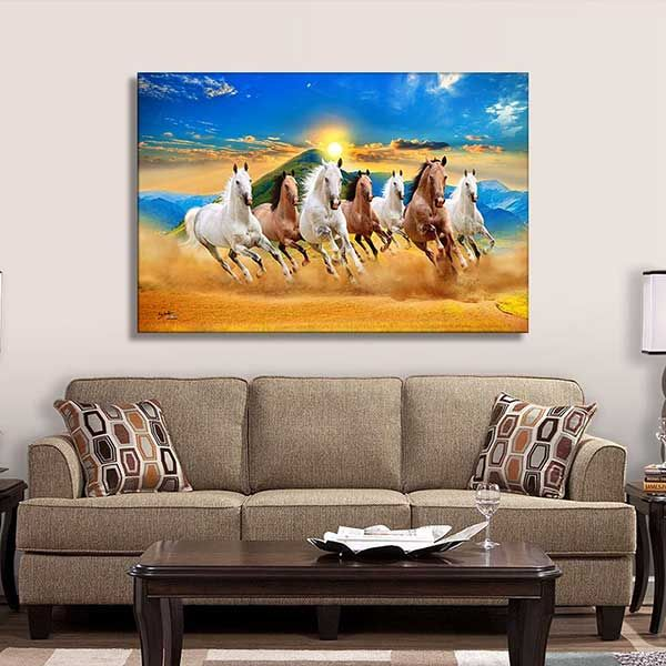 Horses Vastu Painting Vinyl Wall Sticker Crafttrip Horse Canvas Painting Horse Painting Painting Paintings for living room vastu