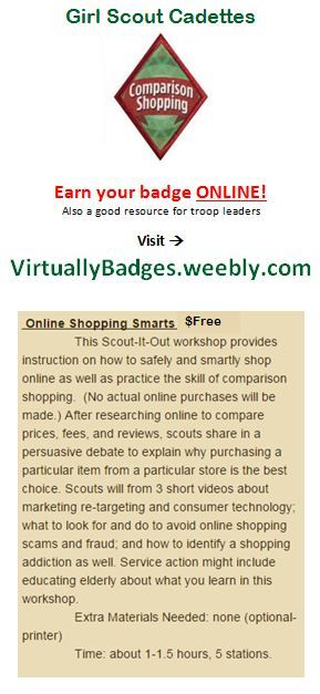 Comparison Shopping Girl Scout Cadette Badge earned online!