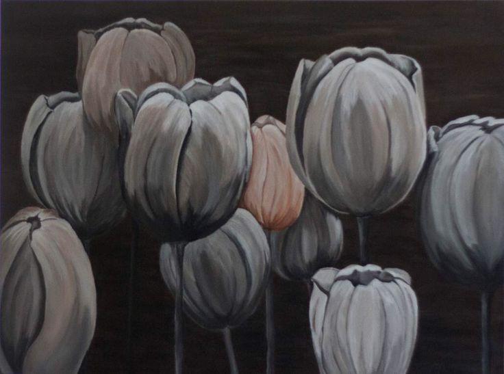 Black and white tulips geschilderd in acryl door Monique Heijnis afmeting 80 x 60