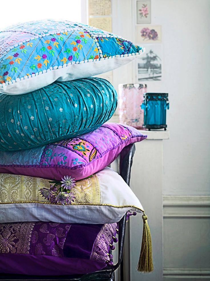 Turquoise & Purple Indian Pillows