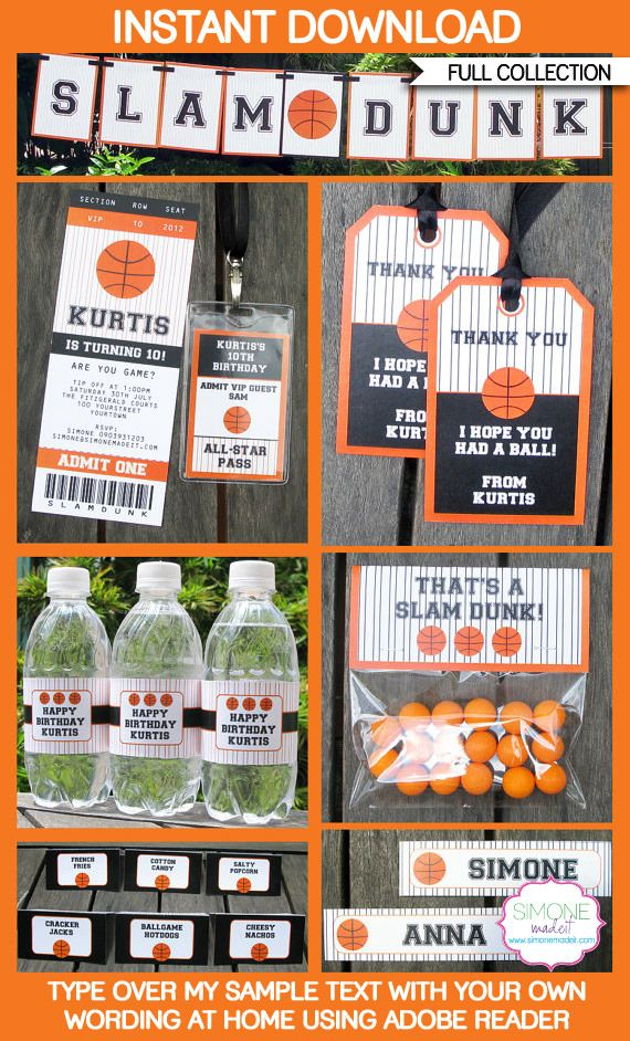 Instantly download my Basketball Party Printables, Invitations & Decorations! Personalize the templates easily at home & get your party started right now!