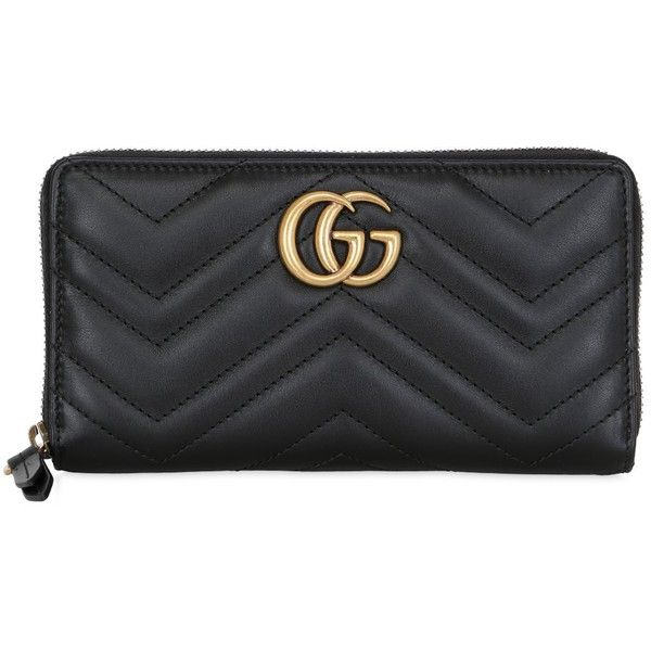 Gucci Women Gg Marmont 2.0 Leather Zip Around Wallet ($655) ❤ liked on Polyvore featuring bags, wallets, wallet, black, real leather bags, genuine leather bags, gucci, 100 leather wallet and zip around wallet