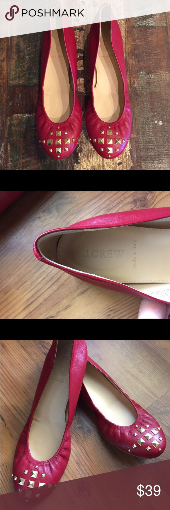 J. Crew cranberry red ballet flats Beautiful red ballet flats made in Italy that feature gold decorative brads. Worn 2-3 times, & in excellent like new condition!❤️ J. Crew Shoes Flats & Loafers