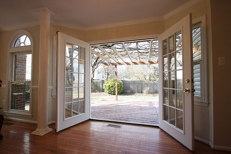 French Doors Between Kitchen And Living Room