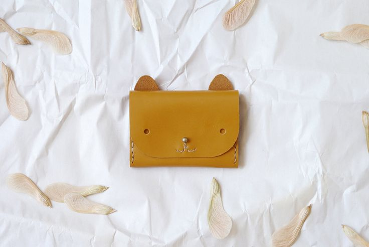 Cat Wallet mustard yellow simple cardholder by smallqueue on Etsy