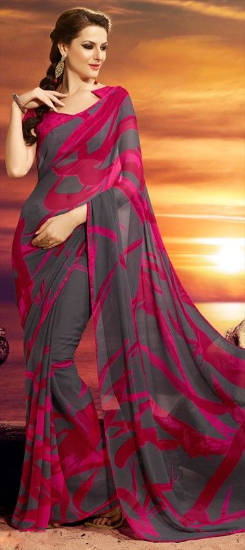 150189: saree - Faux Georgette, Lace, Printed, Floral. prints grey graphic dualtone